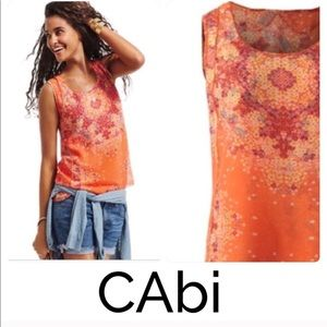CAbi Merrow edge orange floral tank top blouse